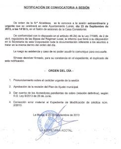 Pleno Extraordinario y Urgente 23.09.13