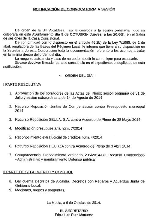 Convocatoria Pleno Ordinario. 09.10.14