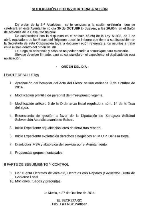 Convocatoria Pleno Ordinario. 30.10.14